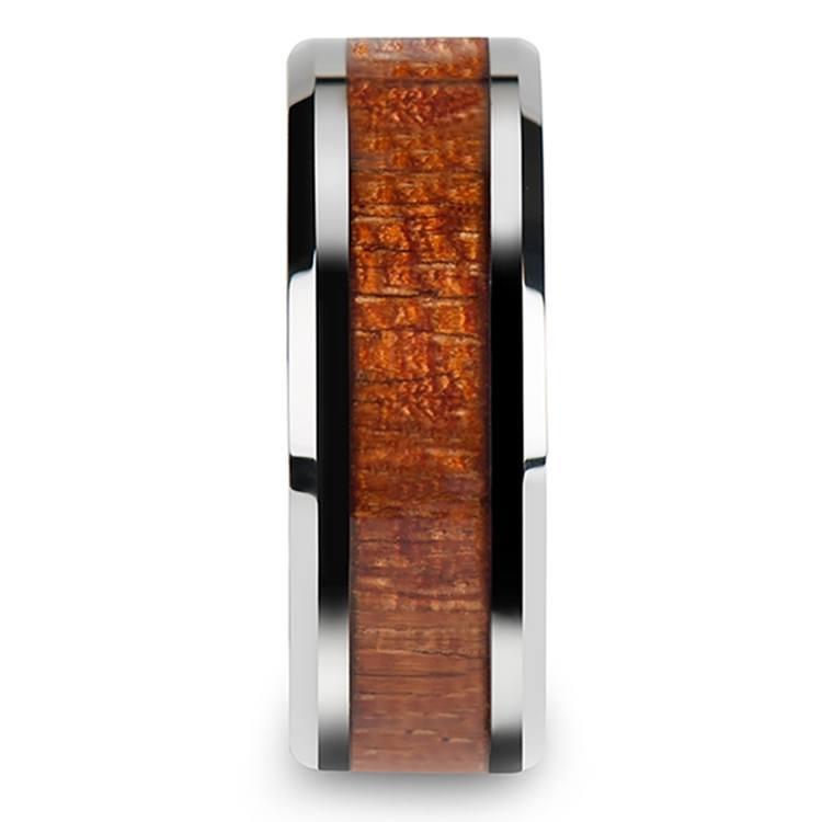 Mahogany Hard Wood Inlay Men's Beveled Ring in Tungsten (8mm) | 03