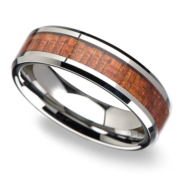 Mahogany Hard Wood Inlay Men's Beveled Ring in Tungsten (6mm) | 01
