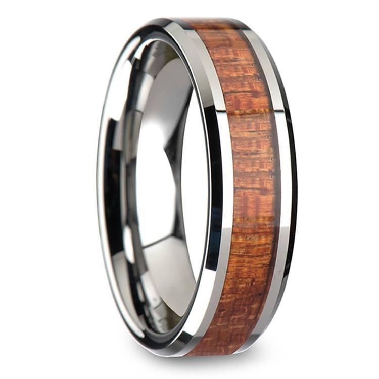 Mahogany Hard Wood Inlay Men's Beveled Ring in Tungsten (6mm) | 02