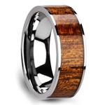 Mahogany Hard Wood Inlay Men's Ring in Tungsten | Thumbnail 02