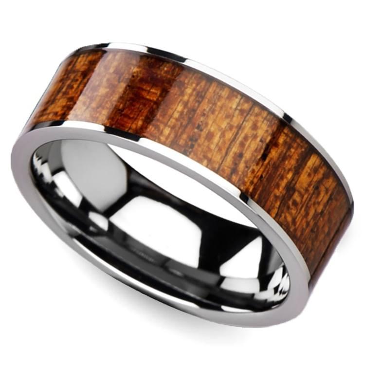 Mahogany Hard Wood Inlay Men's Ring in Tungsten | 01