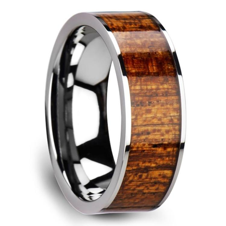 Mahogany Hard Wood Inlay Men's Ring in Tungsten | 02