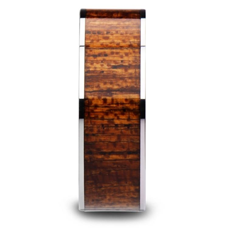Mahogany Hard Wood Inlay Men's Ring in Tungsten | 03
