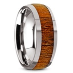 Mahogany Wood Inlay Men's Domed Wedding Ring in Tungsten | Thumbnail 02
