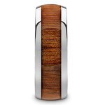 Mahogany Wood Inlay Men's Domed Wedding Ring in Tungsten | Thumbnail 03