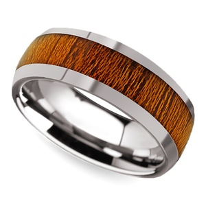 Mahogany Wood Inlay Men's Domed Wedding Ring in Tungsten