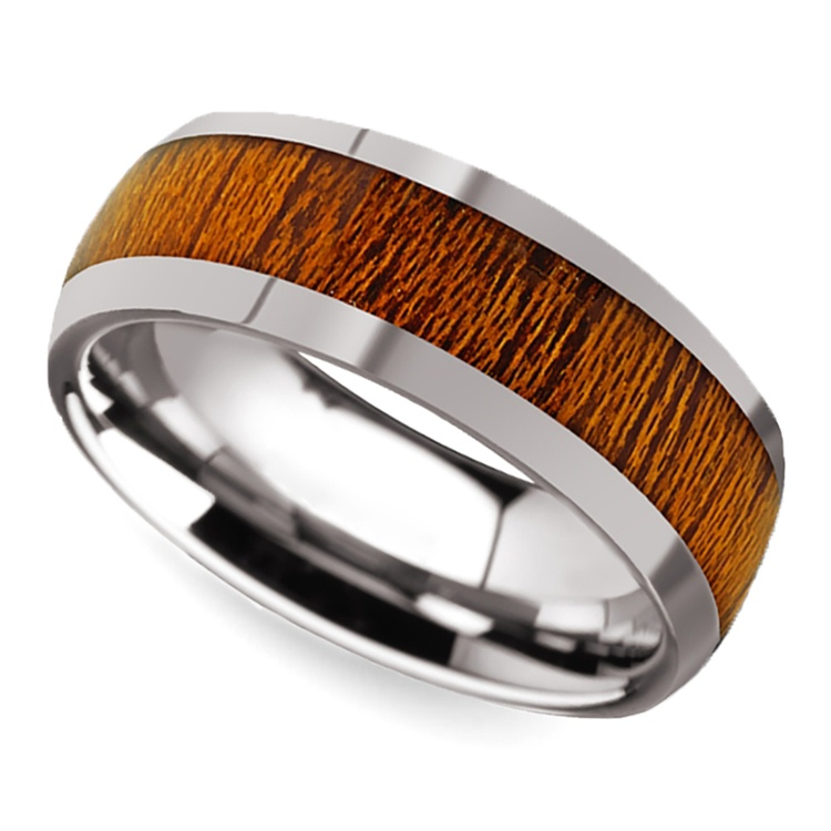 Mahogany Wood Inlay Men's Domed Wedding Ring in Tungsten | 01