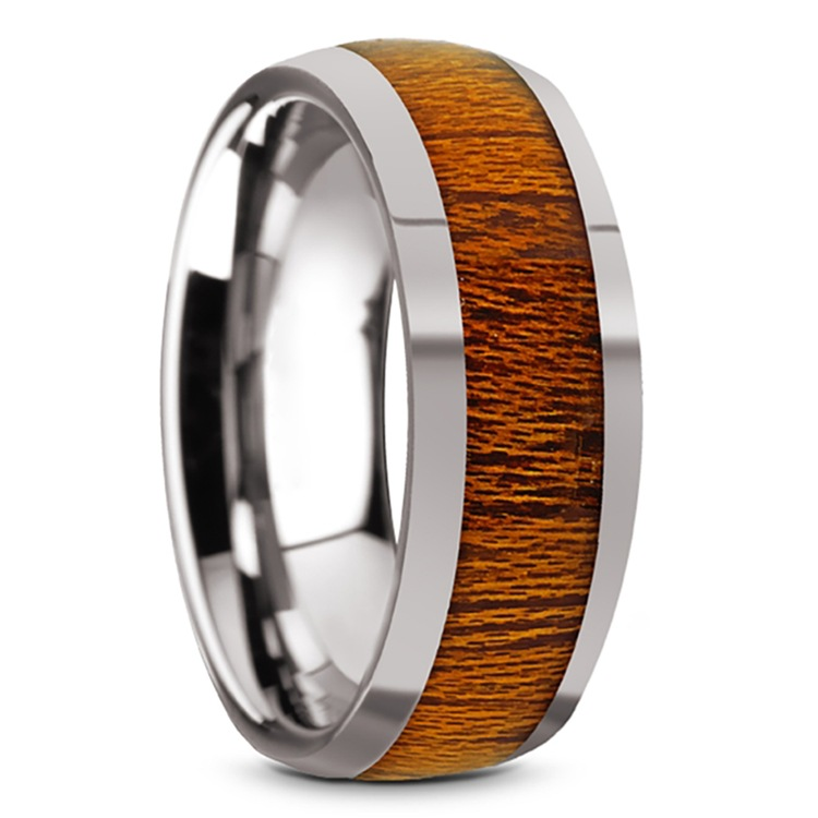Mahogany Wood Inlay Men's Domed Wedding Ring in Tungsten | 02