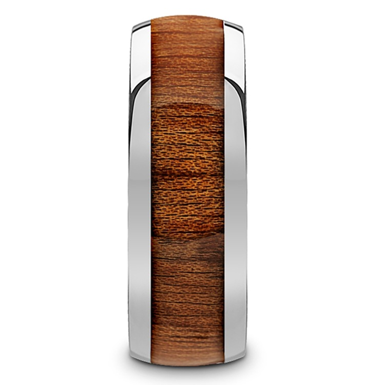 Mahogany Wood Inlay Men's Domed Wedding Ring in Tungsten | 03