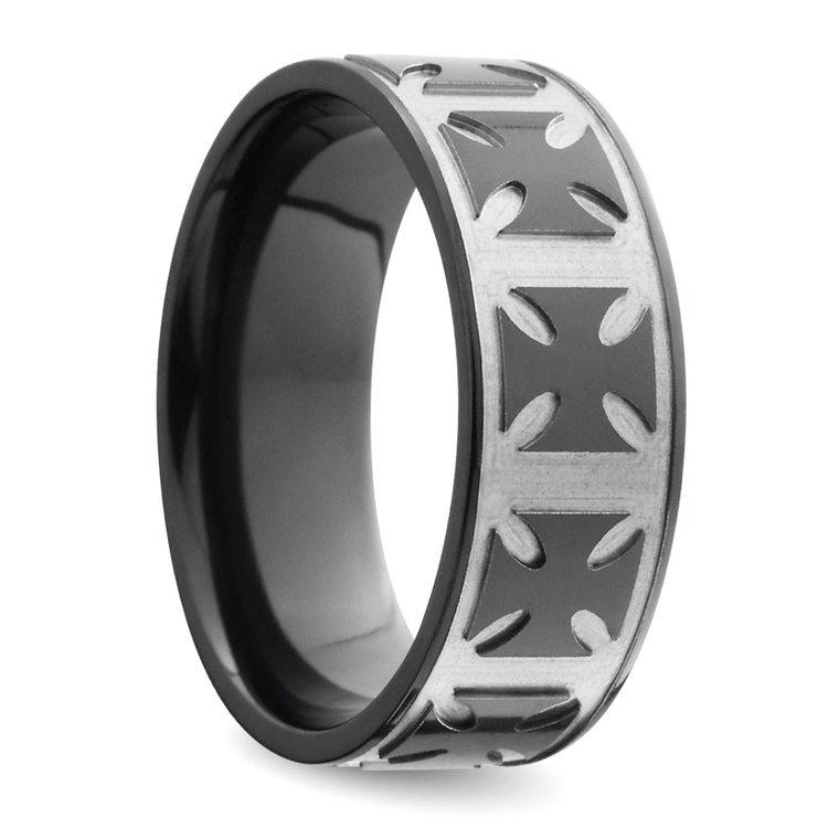 Maltese Cross Men's Wedding Ring in Zirconium | 02