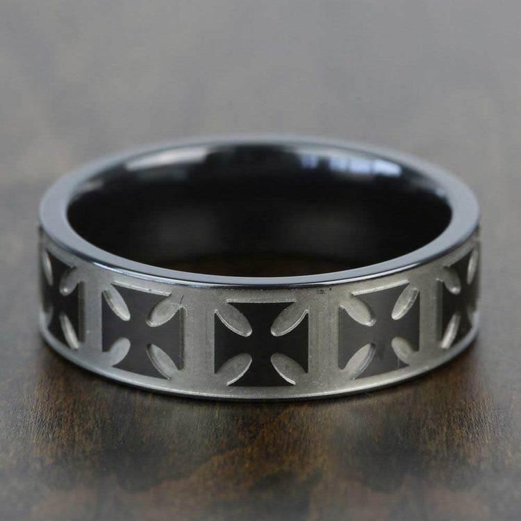 Maltese Cross Men's Wedding Ring in Zirconium | 03