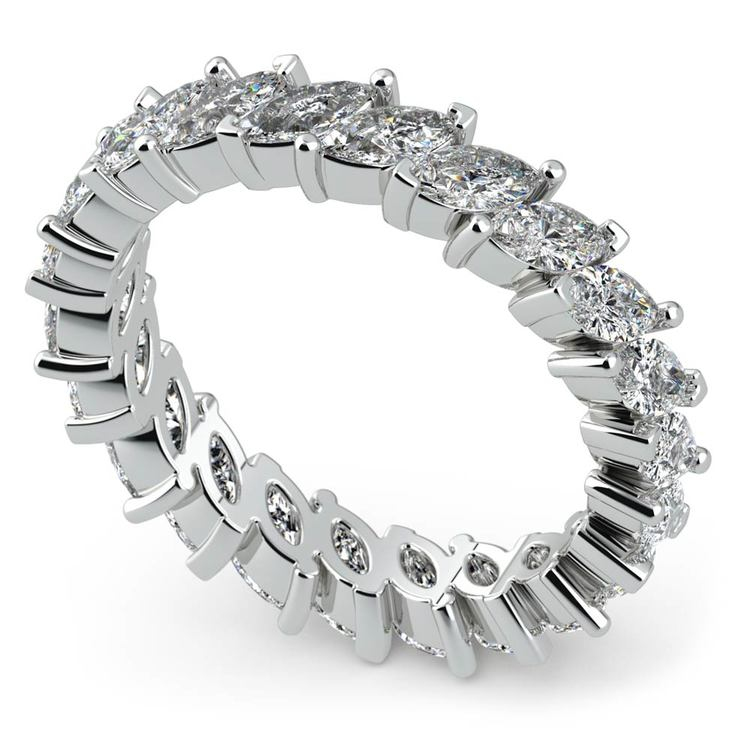 Shimmering Marquise Diamond Eternity Band In White Gold | 01