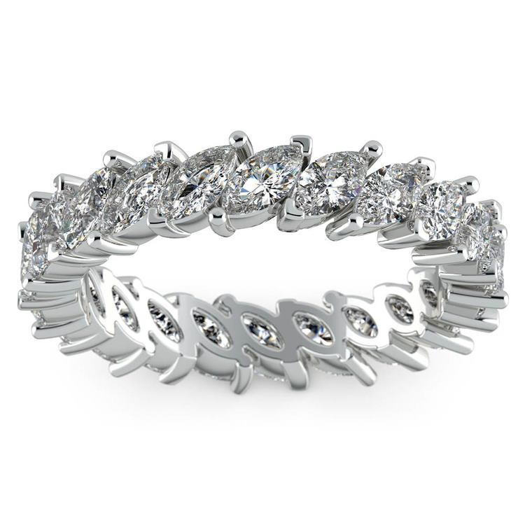 Shimmering Marquise Diamond Eternity Band In White Gold | 02