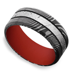 The Martian - Meteorite & Damascus Steel Mens Band with Red Sleeve | Thumbnail 01