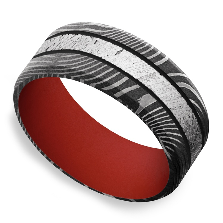The Martian - Meteorite & Damascus Steel Mens Band with Red Sleeve | 01