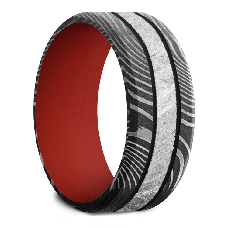 The Martian - Meteorite & Damascus Steel Mens Band with Red Sleeve | 02