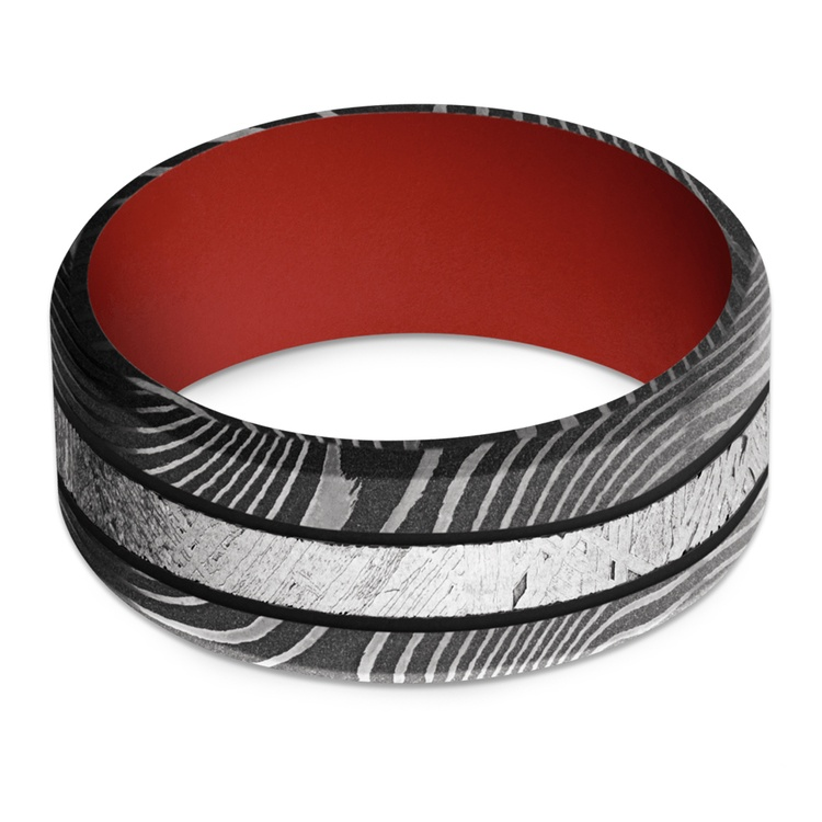 The Martian - Meteorite & Damascus Steel Mens Band with Red Sleeve | 03