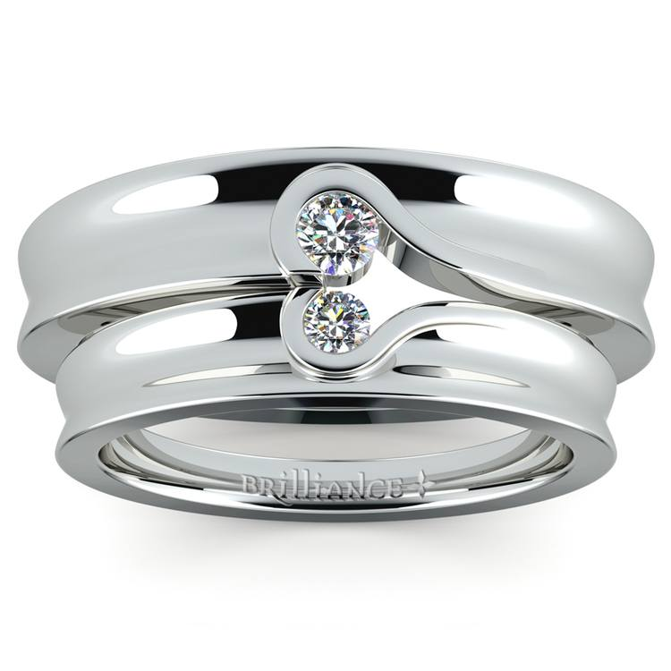 Matching Bezel Heart Concave Diamond Wedding Ring Set in Platinum | 02