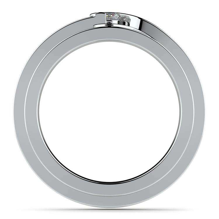 Matching Bezel Heart Concave Diamond Wedding Ring Set in Platinum | 03