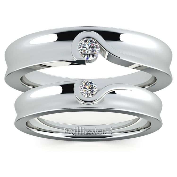 Matching Bezel Heart Concave Diamond Wedding Ring Set in Platinum | 05