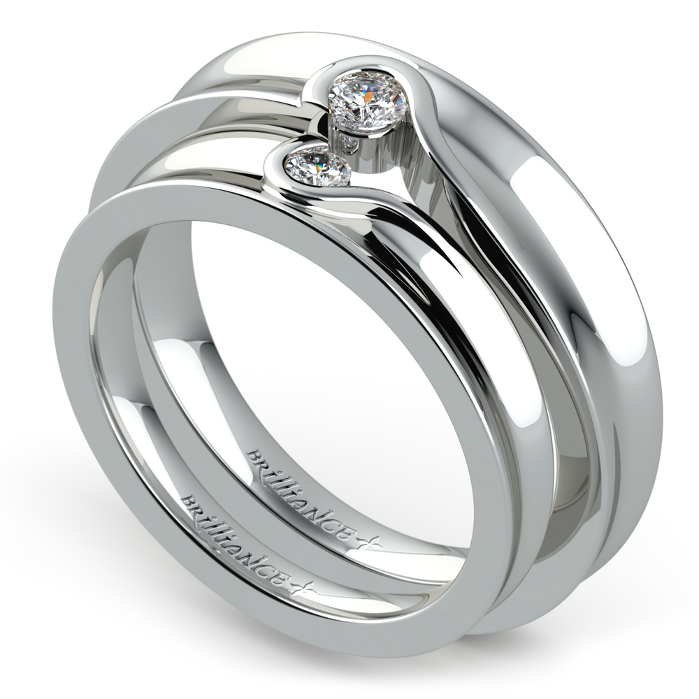 Matching Bezel Heart Concave Diamond Wedding Ring Set In Platinum