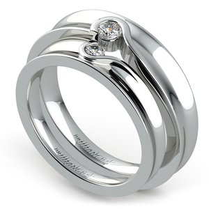 Matching Bezel Heart Concave Diamond Wedding Ring Set in White Gold