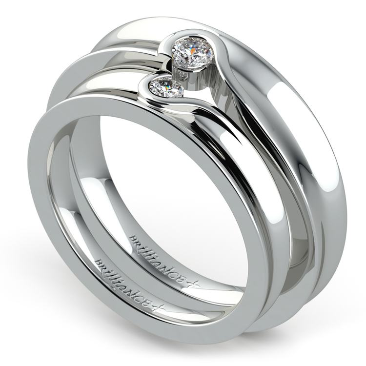Matching Bezel Heart Concave Diamond Wedding Ring Set in White Gold | 01