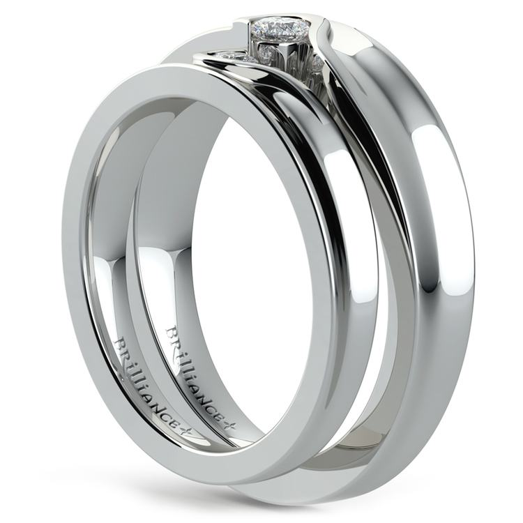 Matching Bezel Heart Concave Diamond Wedding Ring Set in White Gold | 04