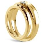 Matching Bezel Heart Concave Diamond Wedding Ring Set in Yellow Gold | Thumbnail 04