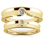 Matching Bezel Heart Concave Diamond Wedding Ring Set in Yellow Gold | Thumbnail 05