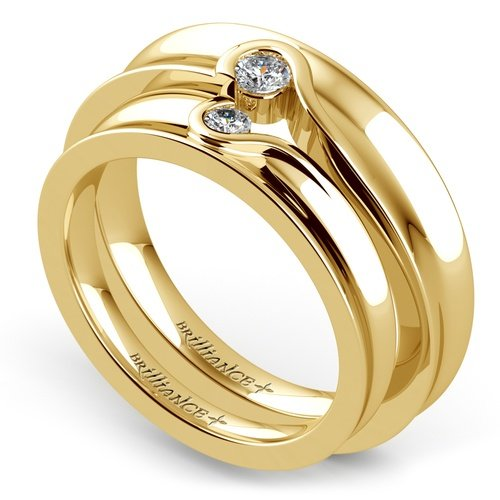 matching bezel heart concave diamond wedding ring set in yellow gold - Gold Diamond Wedding Rings