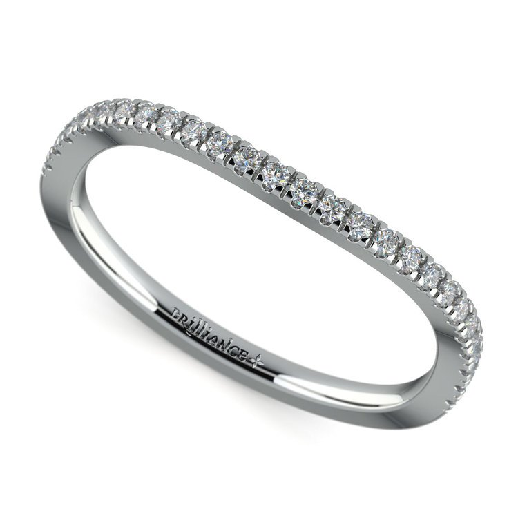 Matching Cross Split Low Diamond Wedding Ring in Platinum | 01