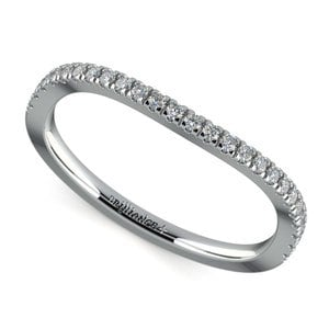 Matching Cross Split Low Diamond Wedding Ring in White Gold
