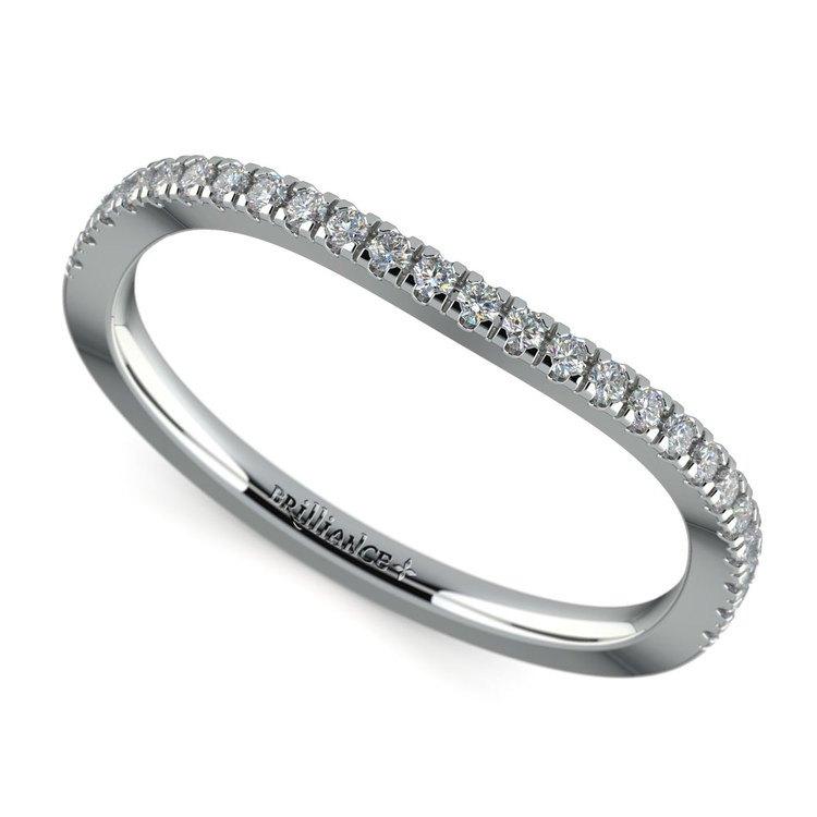 Matching Cross Split Low Diamond Wedding Ring in White Gold | 01