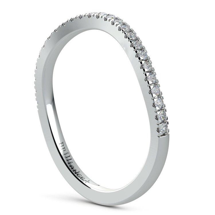 Matching Cross Split Low Diamond Wedding Ring in White Gold | 04