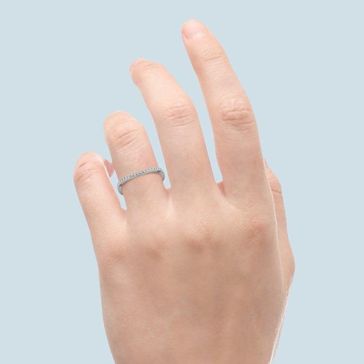Matching Cross Split Low Diamond Wedding Ring in White Gold   06