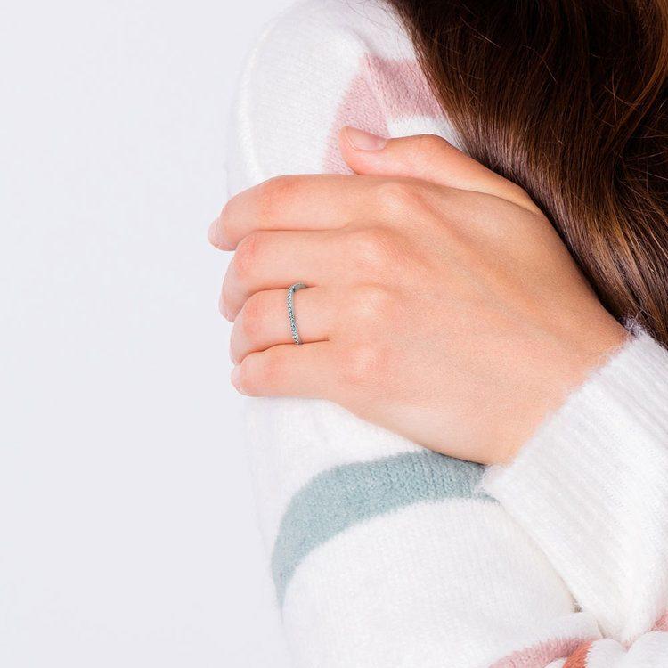Matching Cross Split Low Diamond Wedding Ring in White Gold   07