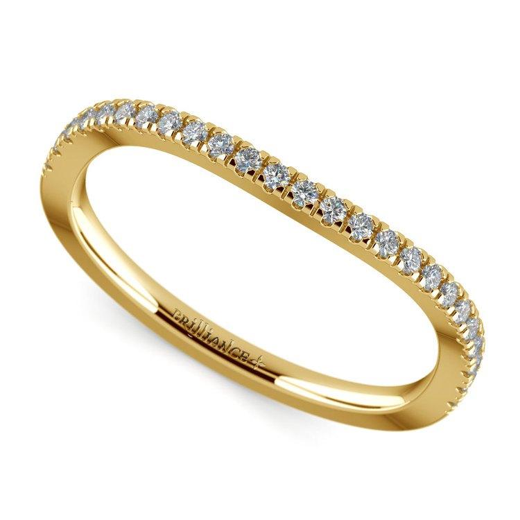 Matching Cross Split Low Diamond Wedding Ring in Yellow Gold | 01