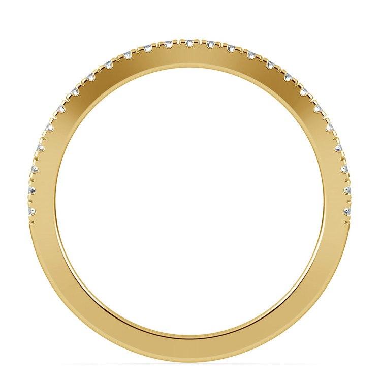 Matching Cross Split Low Diamond Wedding Ring in Yellow Gold | 03