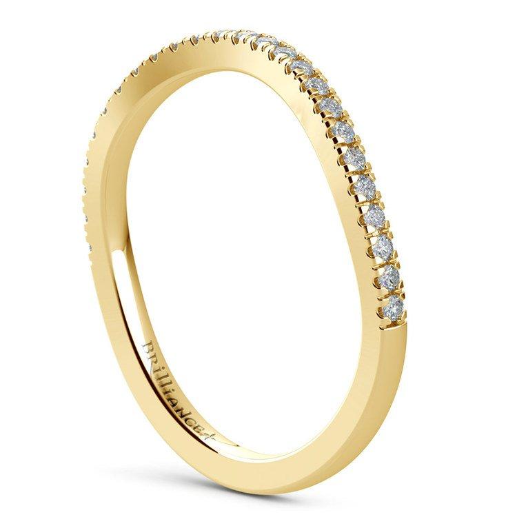 Matching Cross Split Low Diamond Wedding Ring in Yellow Gold | 04