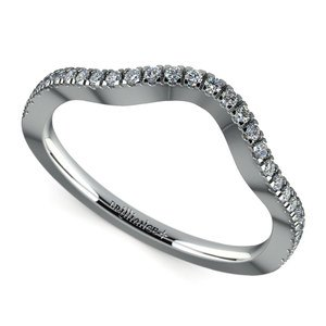 Matching Cross Split Raised Diamond Wedding Ring in Platinum
