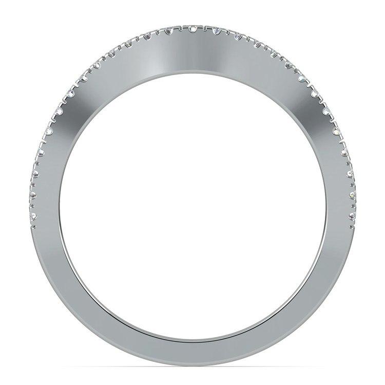 Matching Cross Split Raised Diamond Wedding Ring in Platinum | 03