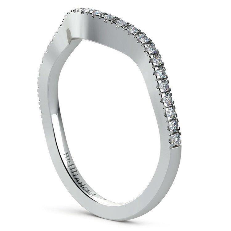 Matching Cross Split Raised Diamond Wedding Ring in Platinum | 04