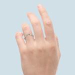 Matching Cross Split Raised Diamond Wedding Ring in White Gold | Thumbnail 06