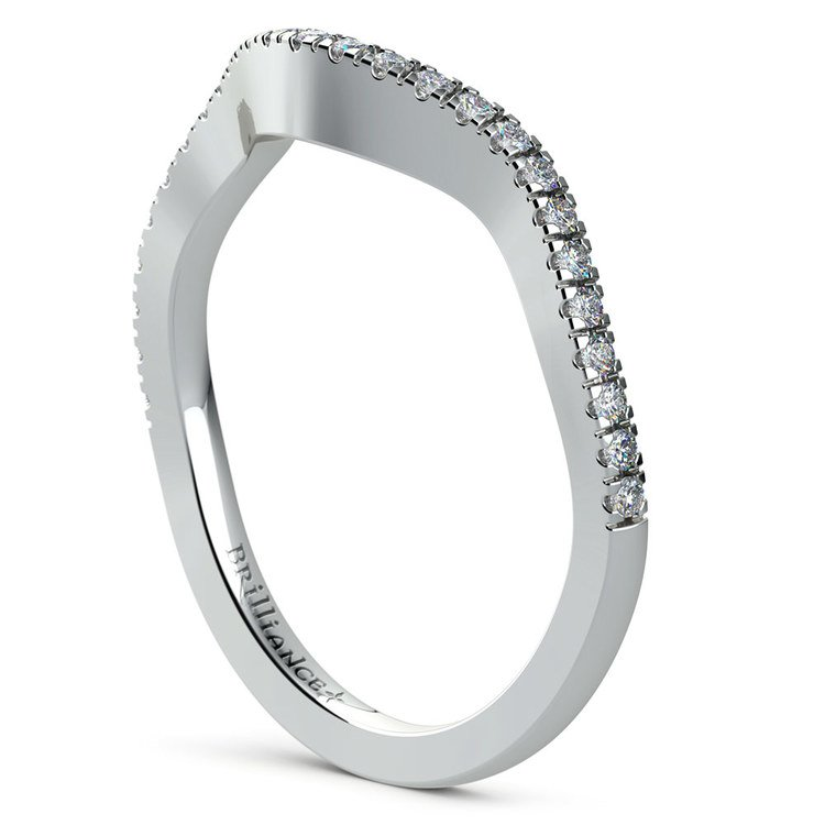 Matching Cross Split Raised Diamond Wedding Ring in White Gold | 04