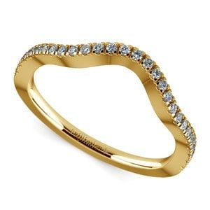Matching Cross Split Raised Diamond Wedding Ring in Yellow Gold