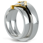 Matching Curled Heart Diamond Wedding Ring Set in White and Yellow Gold | Thumbnail 04