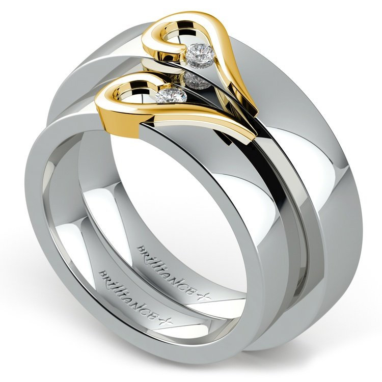 Matching Curled Heart Diamond Wedding Ring Set in White and Yellow Gold | 01