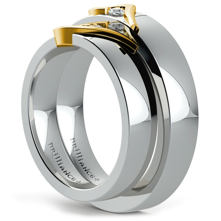 Matching Curled Heart Diamond Wedding Ring Set in White and Yellow Gold | 04