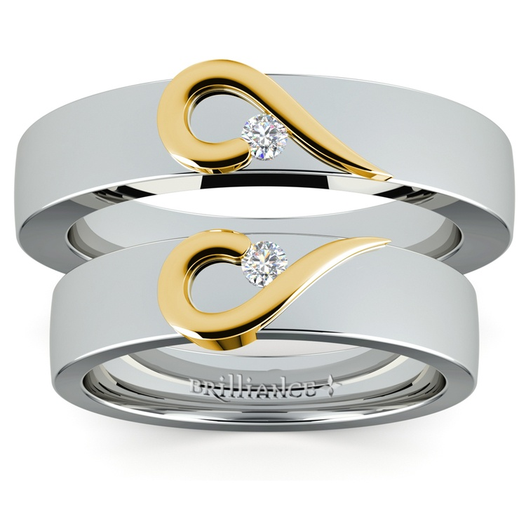 Matching Curled Heart Diamond Wedding Ring Set in White and Yellow Gold | 05